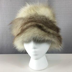 Vintage Fur Hat Cream Brown